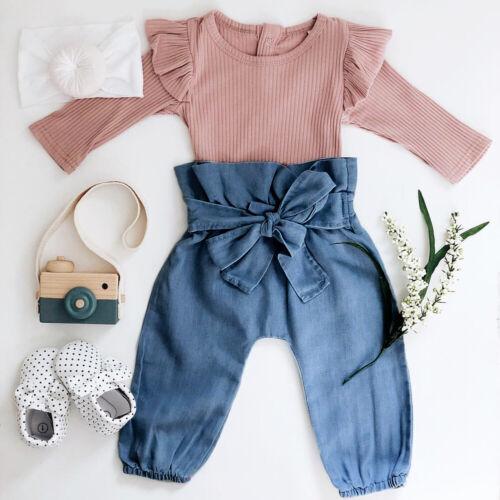 US Sweet Autumn Infant Baby Girl Clothes Long Sleeve Sleeve