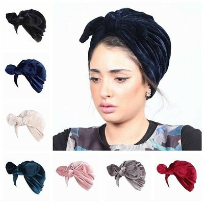 Velvet Turban - 1Pcs Women Velvet Rabbit Ears Turban Head Wrap Indian Hijab Hat Solid Color Cap
