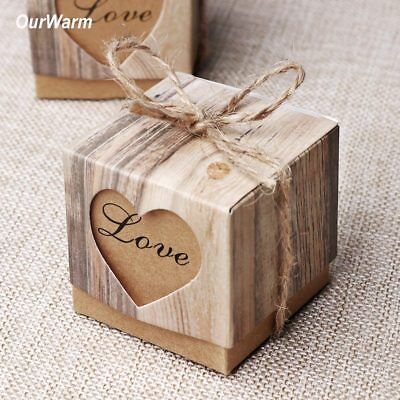 100xLuxury Rustic Wedding Party Favor Love Heart Candy Box Sweet Cake Gift - Wedding Paper