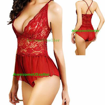 Hot Women's Lace Lingerie Dress Nightwear Underwear Babydoll Sleepwear G-string