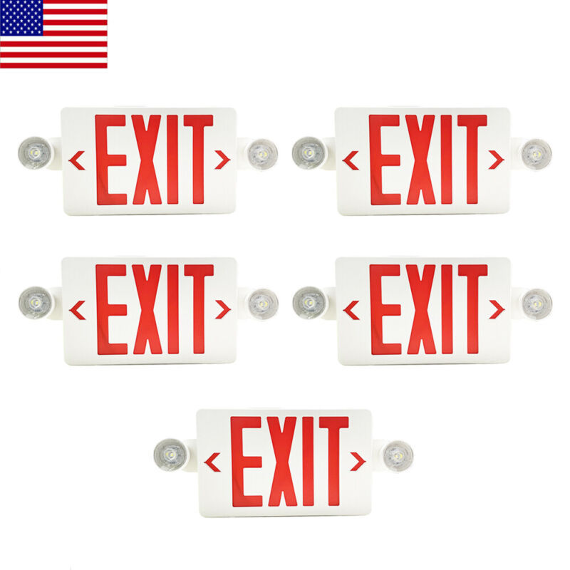 5Pack LED Exit Sign Emergency Light–Hi Output Compact Combo Red Fire UL listed