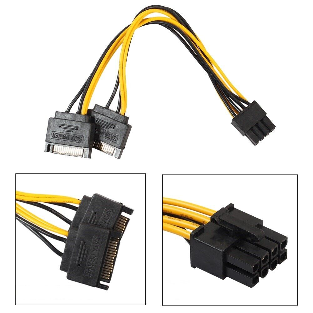Dual SATA 15Pin auf 8Pin PCI-E Express Kabel Grafikkarte Strom Anschluss Leitung