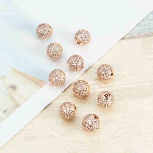10 Pcs/lot Platinum Cubic Zirconia Beads 8mm Brass Gold Clea