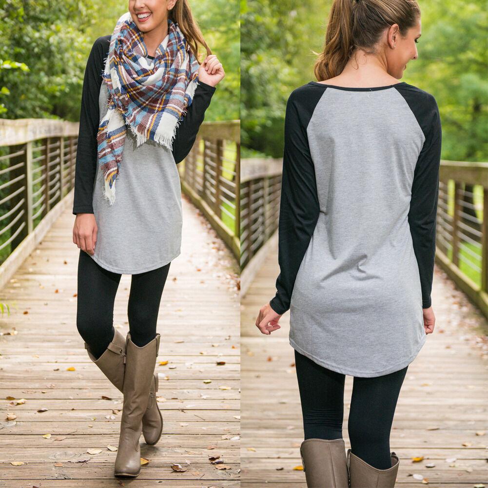 $8.99 - New Women Casual Tops  Loose T-Shirt  Fashion Long Sleeve Cotton Blouse