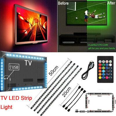 TV LED Backlight 4 x 50CM USB 5050 RGB LED Strip Light Remote Kit 5V 30Leds/M