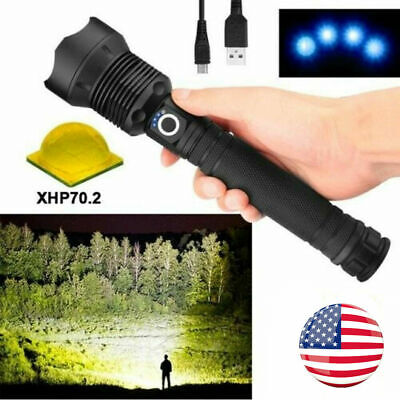 Led Flashlight xhp70.2 90000 lumens Most Powerful Rechargeable Torch Hunting
