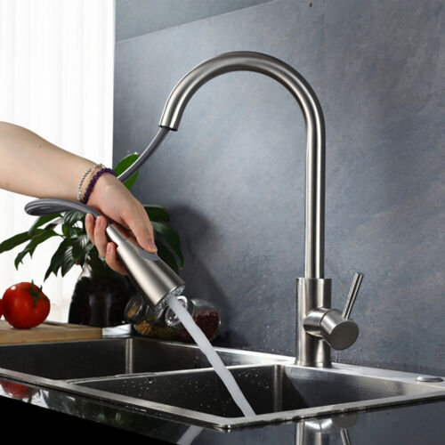 360° Drehbar Edelstahl Ausziehbar Spültischarmatur Küchen Wasserhahn mit Brause