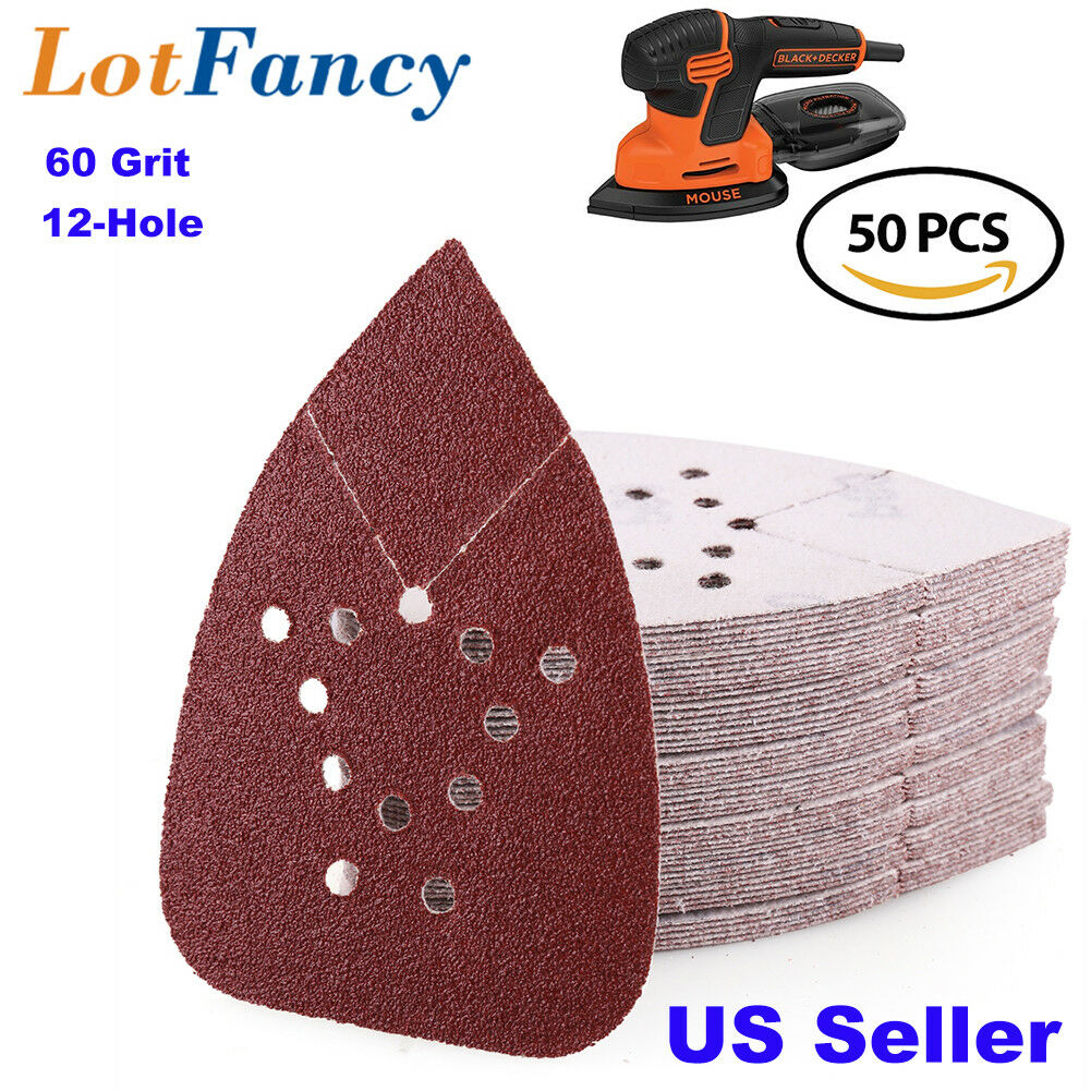 WELIBA 50Pcs 180 Grit Hook /& Loop Mouse Sander Pads Sanding Sheets Sandpaper