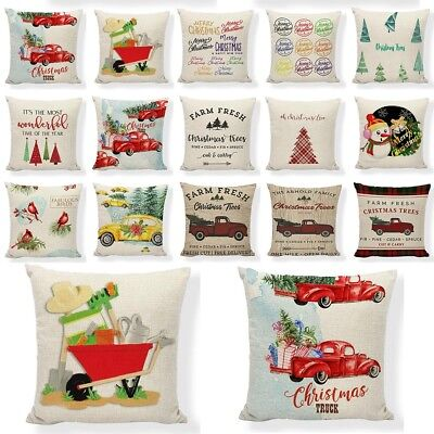 - Red Farm Christmas Tree Linen Throw Pillow Case Truck Happy Camper Cushion Cover