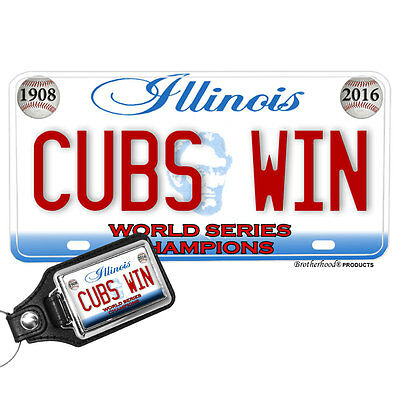 Chicago Cubs 2016 World Series Champions License Plate & Matching Key Ring