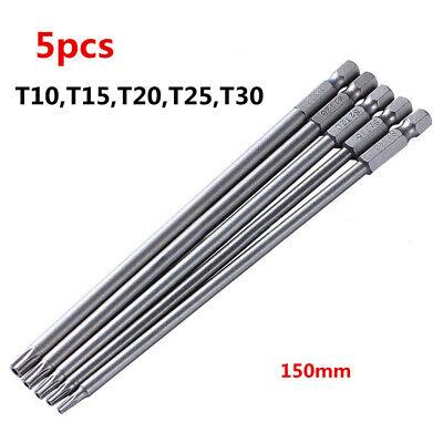 5 150mm T10-T30 Long-Magnetic Torx Eléctrico Destornillador Taladro Brocas Kit