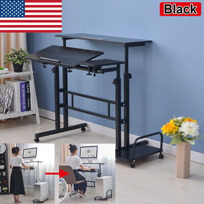 - Adjustable Height Stand Up Desk Computer Laptop Table Rolling W/Cart Home Office