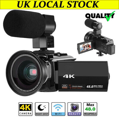 VBESTLIFE 4K Camcorder 48MP WiFi Digital Video Camera Support Wide Angle Lens UK