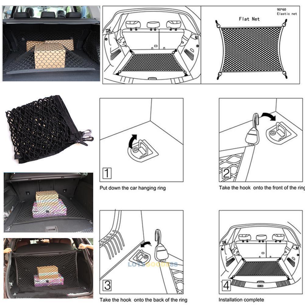 Car Trunk Rear Cargo Organizer Storage Elastic Mesh Net Holder Pocket 90x60cm