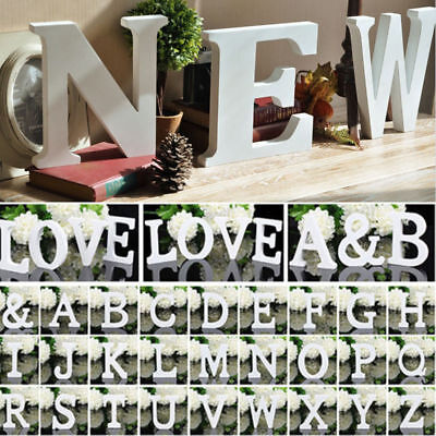 (Freestanding Wooden Letters Shape White Alphabet Name DIY Craft Home Decor Tools)
