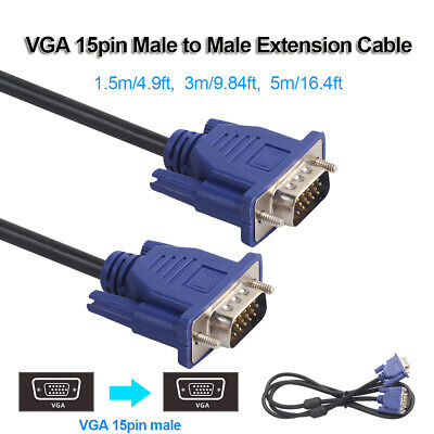 VGA 15pin Male to Male Video Extension Cable Cord for PC Monitor TV Projector
