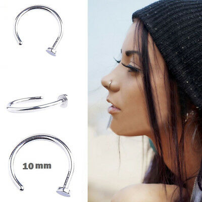 20Pcs Punk Clip On Fake Nose Open Hoop Ring Lip Earring Navel Ring Body Piercing