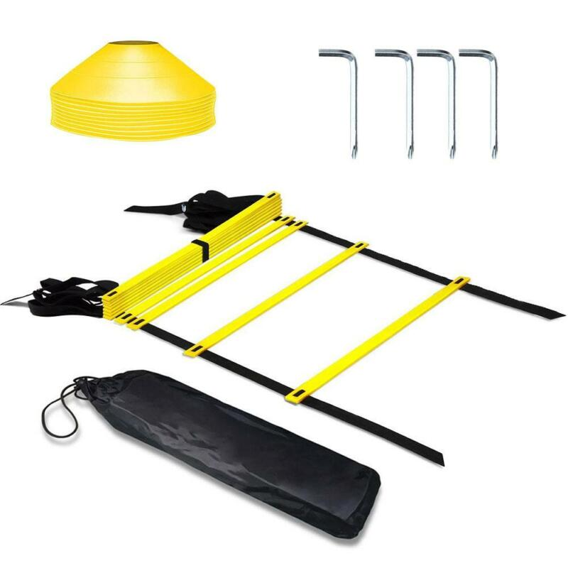 11 Rung Agility Speed Training Ladder Footwork Fitness Football Exercise 10 Cone