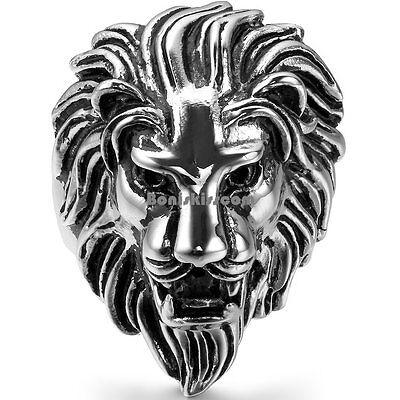 Biker Men's Vintage Casting Black Silver Stainless Steel Lion Head Ring -