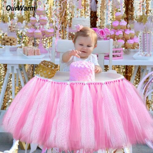 Awesome Details About High Chair Tutu Skirt Tulle Table Skirt Kids Baby 1St Birthday Party Chair Decor Caraccident5 Cool Chair Designs And Ideas Caraccident5Info