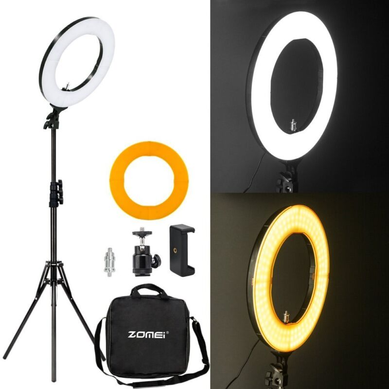 """Zomei 18"""" LED Photography Ring Light Dimmable 5500K Lamp For Video YouTube Live"""