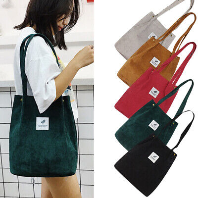 Korean Style Women Corduroy Shoulder Shopping Bag Tote Bags Purse Casual Handbag Corduroy Purse Bag