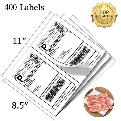 400 Half Sheet Shipping Labels 8.5x5.5 Self-adhesive Direct Corner Usps Ups Usa