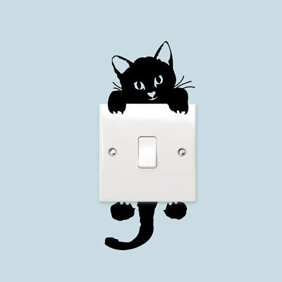 1PCS Cute Black Cat Light Switch Wall Sticker Kids Room Parlor Funny Decor NEW