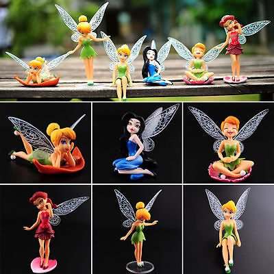 6 PCS Disney Princess Tinkerbell Fairy Action Figure Wing Fairies Cake Topper (Tinkerbell Cake Toppers)
