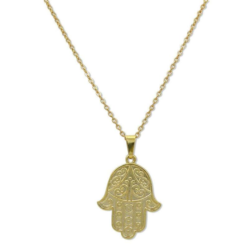 cable silver chain oxidized hamsa gold pendant hammered double on antiqued sterling necklace