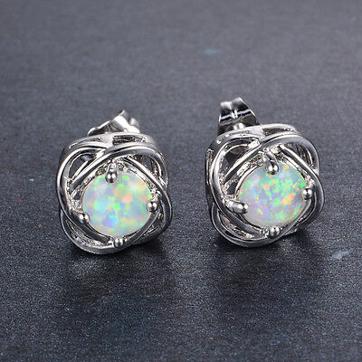 """Women 925 Silver Stud Earrings Round Cut White Fire Opal Wedding Jewelry """"US"""""""