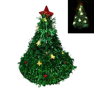 Christmas Hats With Lights (Green Tinsel Hat With LED Light Christmas Tree Cap Xmas Light Up Party Hats)