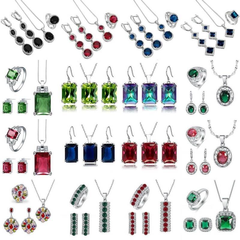 Women 925 Sterling Silver Gemstone Necklace Pendant Rings Ea