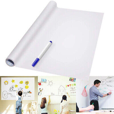 Self Adhesive Wall Whiteboard Decal Sticker Dry Erase Draw Board School Office