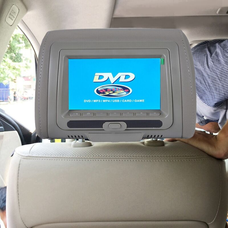 """7"""" Gray Car Headrest Monitor Back Seat Monitors with DVD Player USB IR FM Games"""