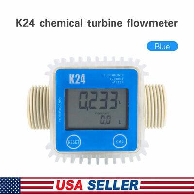 K24 Lcd Turbine Digital Diesel Fuel Flow Meter Large For Chemicals Water Blue