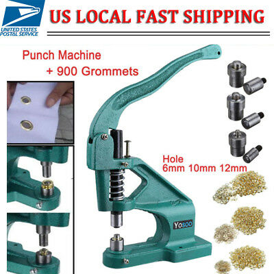 Hand Manual Press Eyelet Machine Punch Rivet Banner Bag 900pcs Grommets