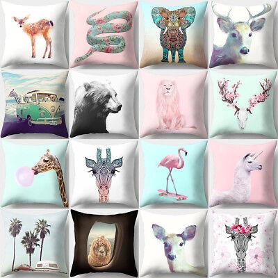Giraffes Goat Pattern Throw Pillow Case Waist Cushion Cover