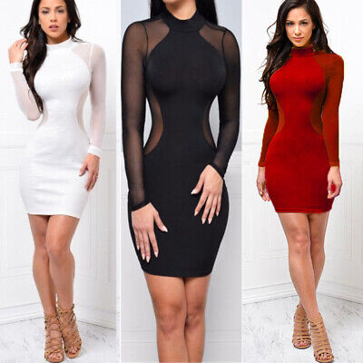 US Women Sexy Long Sleeve Bandage Bodycon Evening Party Cocktail Club Mini Dress