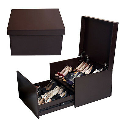 Two Layers Wooden Shoe Cabinet Organizer Storage Box Bench Rack Entryway Brown Wooden Shoe Cabinet