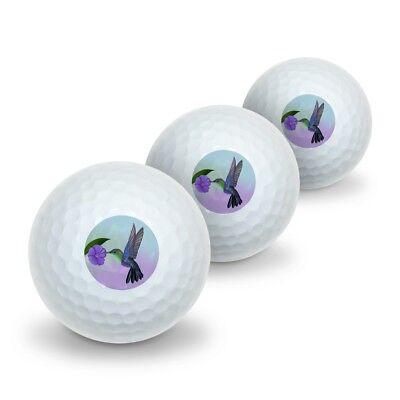(Hummingbird Crowned Woodnymph Purple Violet Novelty Golf Balls 3 Pack)