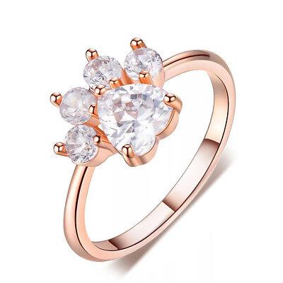 (Heart Cut White Sapphire Ring Rose Gold Cute Dog Paw Footprint CZ Wedding Band)