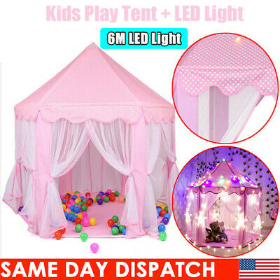 Princess Castle Playhouse Large In/Outdoor Kids Girl Pink Play Tent 6M LED Light
