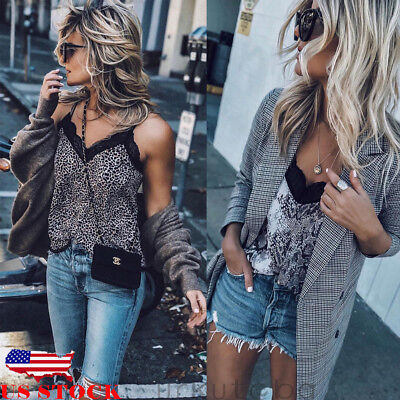 - US Women Sexy V Neck Leopard Print Cami Tank Vest Blouse Lace Crop Top Clubwear