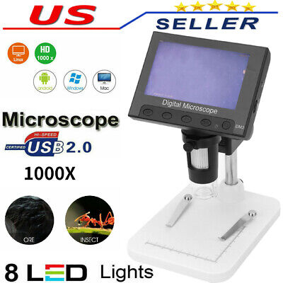 1000x Microscope 4.3 Lcd Display 5mp 1080p 8 Led Digital Magnifier Handheld