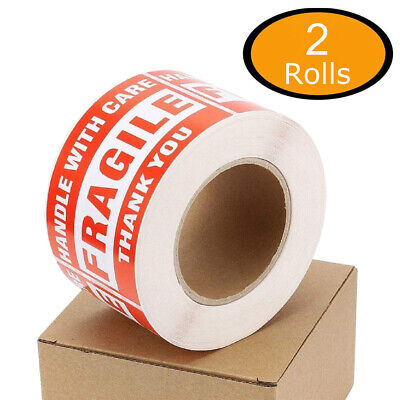 1000 Fragile Stickers 3x5 Handle With Care Warning Shipping Labels - 2 Rolls