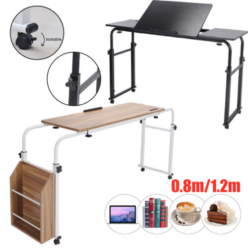 Multifunction Adjustable Over Bed Computer Table Desk W/Storage & Rolling Wheel