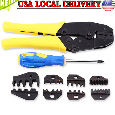 Professional Wire Crimper Pliers Ratcheting Terminal Crimping Tool Kit W 5 Dies
