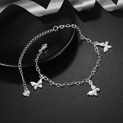 Womens 925 Sterling Silver Butterfly Heart Link Chain Foot Ankle Bracelet (925 Sterling Silver Ankle Bracelet)