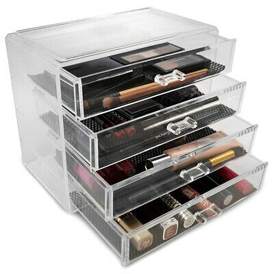 Cosmetic Organizer Clear Acrylic Makeup Drawers Jewelry Holder Case Box Storage-